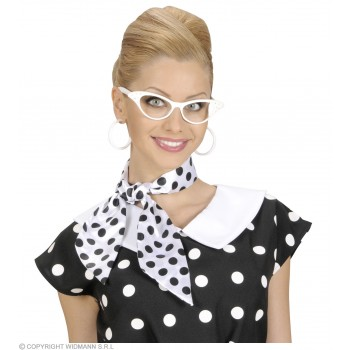 Satin Dotted Neck Sashes White W/Black Dots Fancy Dress