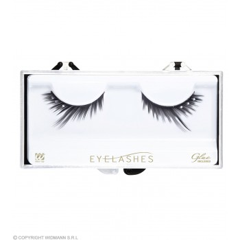 Eyelashes Black Peaked Strass W/Glue Tube - Fancy Dress