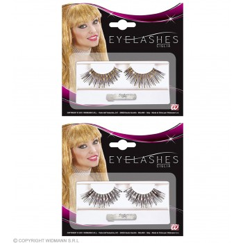 Eyelashes Long Blk And Gold/Silver - Fancy Dress