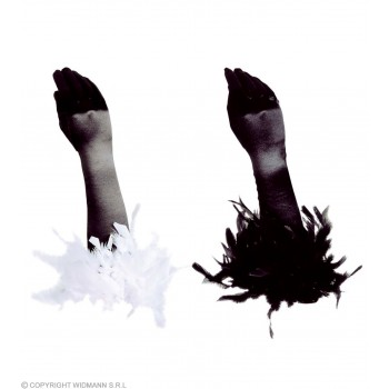 Gloves Black Satin W/Feathers - Fancy Dress