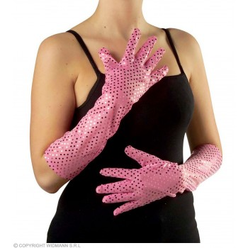 Sequin Gloves 41Cm Turq/Ppl/Pink/Grn - Fancy Dress