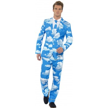Men'S Blue Sky High Stand Out Suit Fancy Dress Costume
