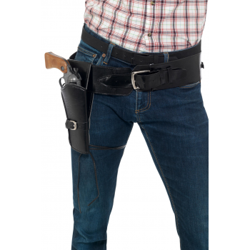 Adult Faux Leather Single Holster with Belt Cowboys/Indians Fancy Dress
