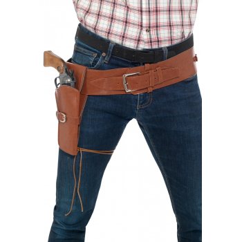 Adult Faux Brown Leather Single Holster with Belt Cowboys and Indians Fancy Dress