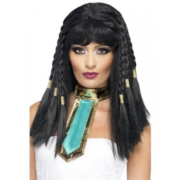 Cleopatra Wig - Fancy Dress Ladies (Medieval) - Black
