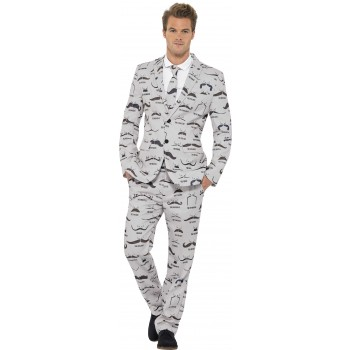 Men'S Moustache Pattern Stand Out Suit Fancy Dress Costume