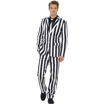 Men'S Black/White Humbug Stand Out Suit Fancy Dress Costume