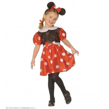 Mouse Girl & Dress, Ears & 110 - 116Cm Costume Age 4-5 (Animals)