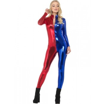 Fever Miss Harlequin Whiplash Fancy Dress Costume