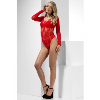 Lace Bodysuit Fancy Dress Accessory - Red