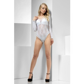 Lace Bodysuit Fancy Dress Accessory - White