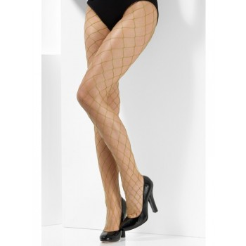 Diamond Net Fancy Dress Tights - Khaki