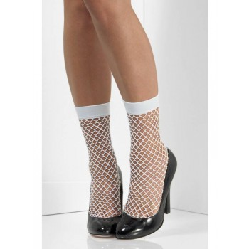 Fishnet Fancy Dress Socks - White