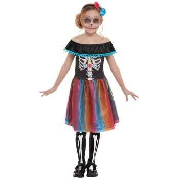 Neon Day of The Dead Girl Fancy Dress Costume Halloween