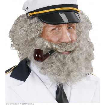 Character Curly Wig/Beard - Grey - Fancy Dress