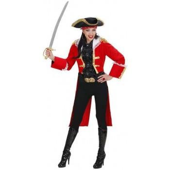 Red Heavy Fabric Pirate Captain Woman Costume Ladies (Pirates)