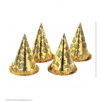 New Yr Cone Hats W Fringe Gold - Fancy Dress