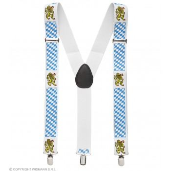 Blue & White Patterned Bavarian (Oktoberfeft) Braces Fancy Dress Accessory