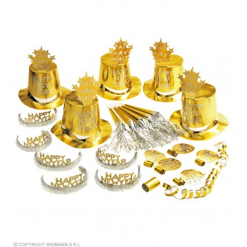 New Year Party Kit Gold 10 Person - Fancy Dress