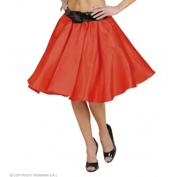 Red Satin Skirts W/Sewn - In Petticoat - Fancy Dress
