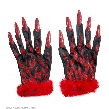 Devil Gloves With Red Glitter Nails, - Fancy Dress (Halloween)