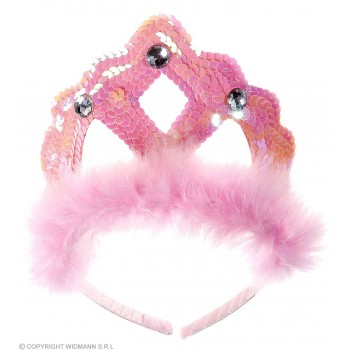 Tiara Pink Sequin W/Marabou And Gems - Fancy Dress