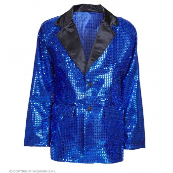 Sequin Jacket W/Satin Collar - Blue - Fancy Dress