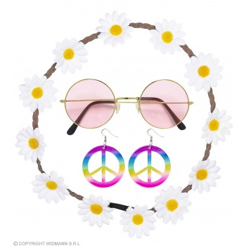 Ladies 60's Hippie Chick Set Fancy Dress Accessory