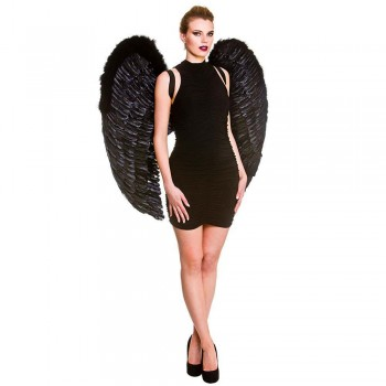 Giant Feather Wings 95x95cm - Black Halloween Accessory