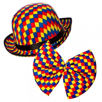 Clown Bowler Hat & Bow Tie Accessories