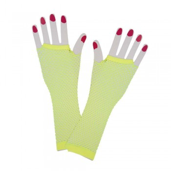 80's Net Gloves - Long - NEON YELLOW Gloves (1980)
