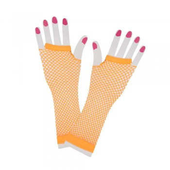 80's Net Gloves - Long - NEON ORANGE Gloves (1980)