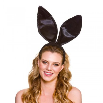 Satin Bunny Ears - Black Adult Animal Accessories