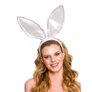 Satin Bunny Ears - White Adult Animal Accessories