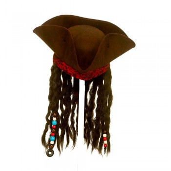 Super Deluxe Pirate Hat w/Braids & Beads Hats