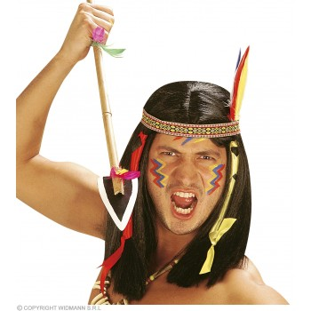 Comanche Native American Wig W/Decorations Boxed - Fancy Dress (Cowboys/Native Americans)