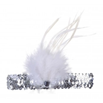 Silver Flapper Headband (Sequin with Feather)