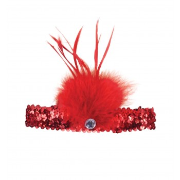 Red Flapper Headband (Sequin with Feather)