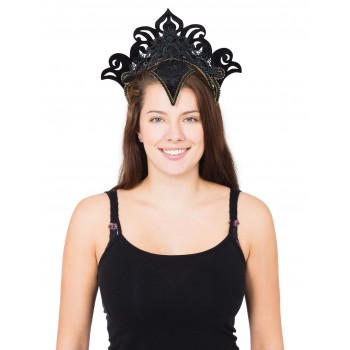 Carnival Headpiece Black with Gold Trim