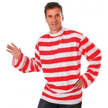 Striped Shirt. Red/White Fancy Dress Costume