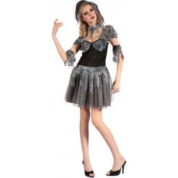 Ladies Grey (Gothic Bride) Fancy Dress Costume