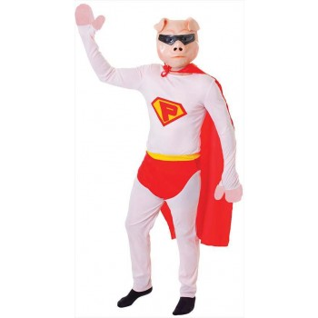 Mens White Super Hero Pig Plus Mask Fancy Dress Costume