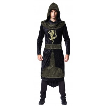 Mens Black/Gold Medieval Prince Assassin Fancy Dress Costume