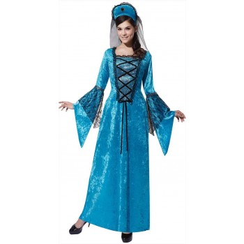 Ladies Blue Royal Medieval Princess Fancy Dress Costume