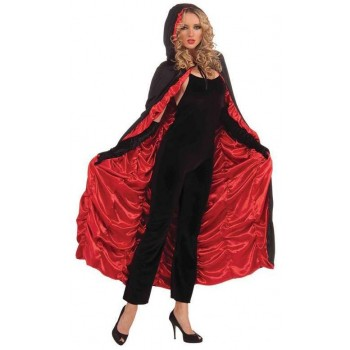 Ladies Red/Black Vampire Coffin Cape Halloween Fancy Dress Costume