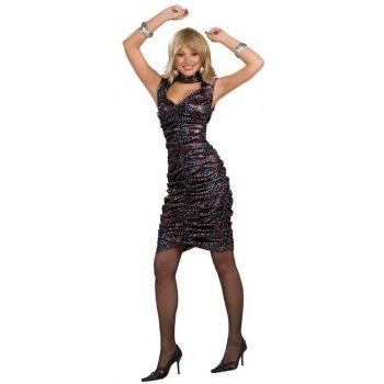 Ladies 70'S Glamorous Disco Princess Fancy Dress Costume