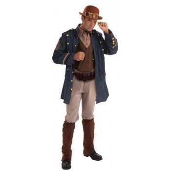 Mens Brown Steampunk General Fancy Dress Costume