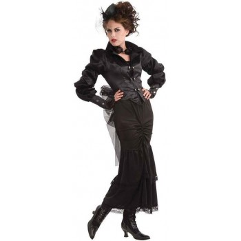Ladies Black Steampunk Victorian Lady Fancy Dress Costume
