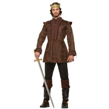 Mens Medieval Kings Coat Fancy Dress Costume