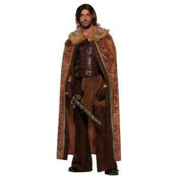 Mens Faux Fur Trimmed Medieval/Mongol Cape Fancy Dress Costume